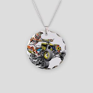 ATV Quad Racer Freestyle Necklace Circle Charm