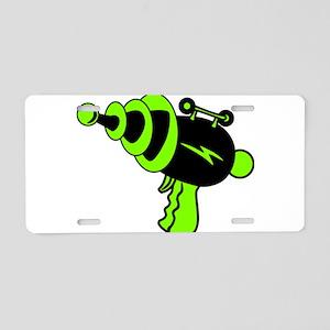Neon Green Ray Gun Aluminum License Plate