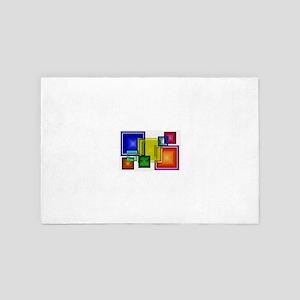 Rainbow Assortment of Stain Glass Tile 4' x 6' Rug