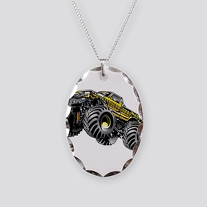 Monter Taxi Truck Necklace Oval Charm