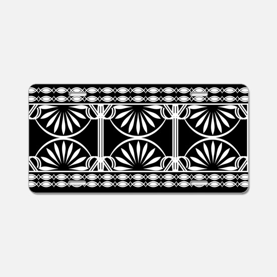 Lines Curves black and whit Aluminum License Plate