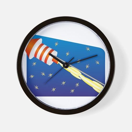Orange & White Fireworks Rocket Wall Clock
