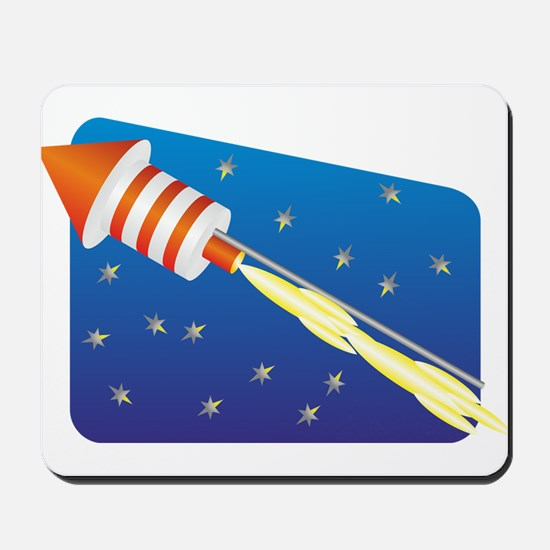 Orange & White Fireworks Rocket Mousepad