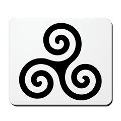Triskele Symbol (Triple Spiral) Mousepad