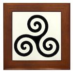 Triskele Symbol (Triple Spiral) Framed Tile