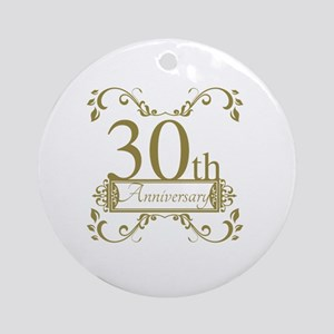30th Wedding Anniversary Round Ornament