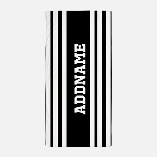 Black and White Stripe Personalized Beach Towel