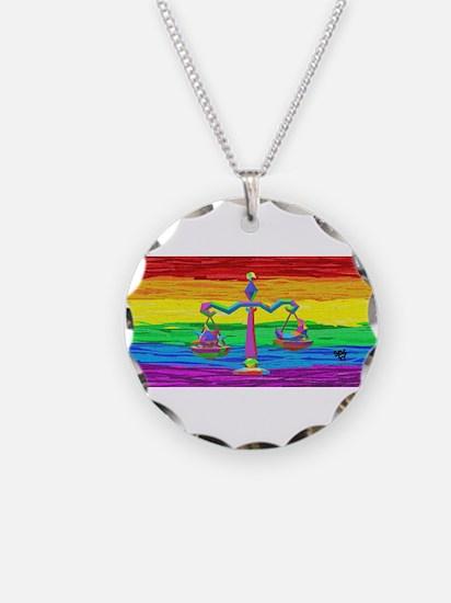 LIBRA Zodiac GAy Rainbow Art Necklace