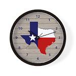 Great Texas on Weathered Wood Wall Clock