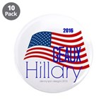 """Geaux Hillary 2016 - 3.5"""" Button (10 Pack)"""