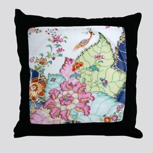 antique chinoiserie china floral cran Throw Pillow