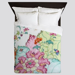 antique chinoiserie china floral crane Queen Duvet
