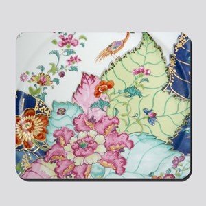 antique chinoiserie china floral crane t Mousepad