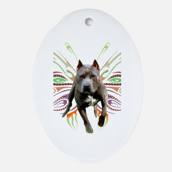 Pit Bull Butterfly Art Oval Ornament
