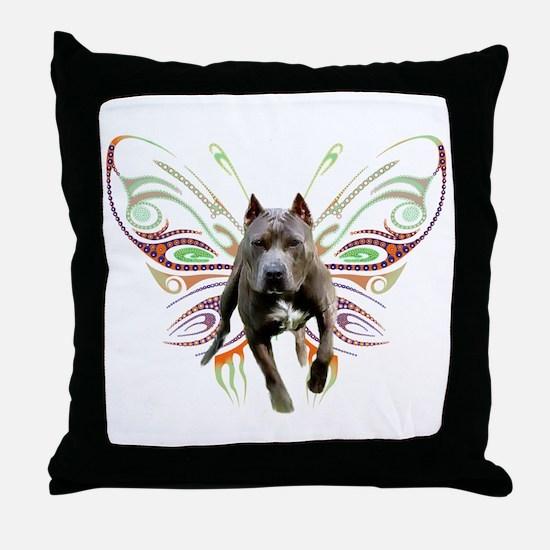 Pit Bull Butterfly Art Throw Pillow