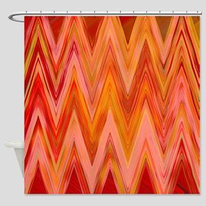 ikat chevron watercolor zig zag zig Shower Curtain