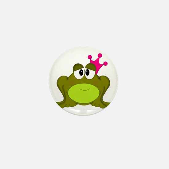 Frog Princess Pink Crown Mini Button