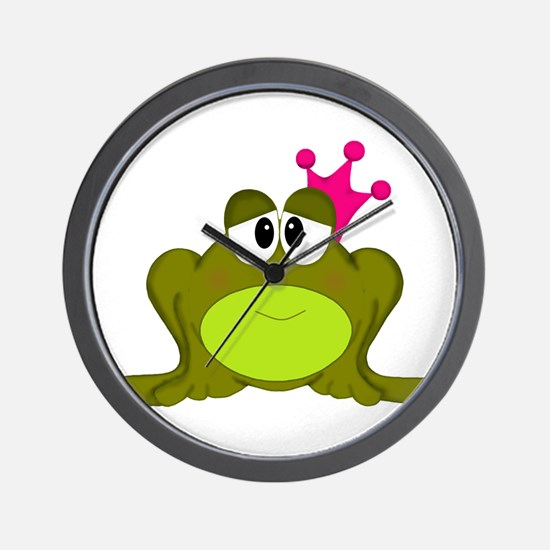 Frog Princess Pink Crown Wall Clock