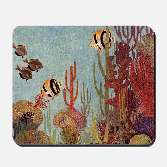 Vintage Tropical Fish and Coral Mousepad
