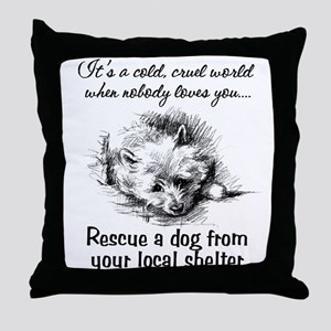 Rescue A Dog Throw Pillow