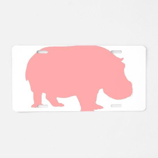 Pink Hippo Aluminum License Plate