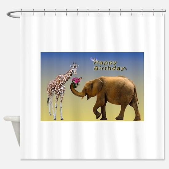 Happy Birthday Zoo Animals Shower Curtain