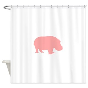 Pink Hippo Shower Curtains