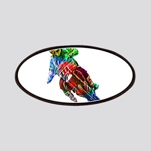 Super Crayon Colored Dirt Bike Leaning Into Patch