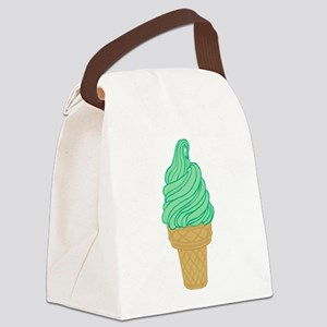 Green Mint Ice Cream Cone Canvas Lunch Bag