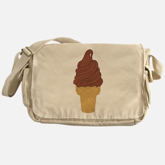 Chocolate Soft Serve Ice Cream Cone Messenger Bag