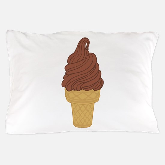 Chocolate Soft Serve Ice Cream Cone Pillow Case