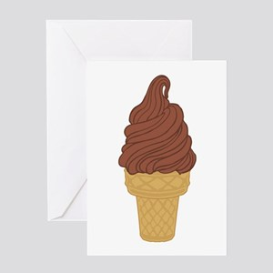 Chocolate Soft Serve Ice Cream Cone Greeting Card