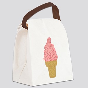 Pink Strawberry Ice Cream Cone Canvas Lunch Bag