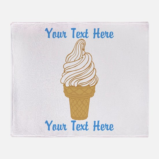 Personalized Ice Cream Cone Throw Blanket