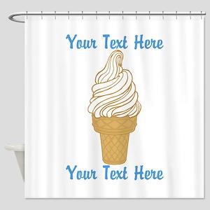 Personalized Ice Cream Cone Shower Curtain