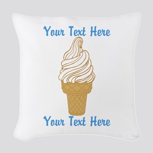 Personalized Ice Cream Cone Woven Throw Pillow