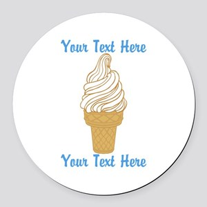 Personalized Ice Cream Cone Round Car Magnet