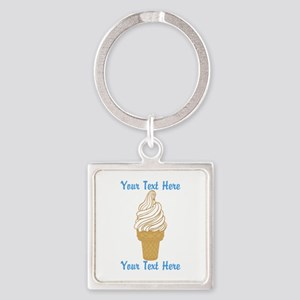 Personalized Ice Cream Cone Square Keychain