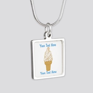 Personalized Ice Cream Con Silver Square Necklace