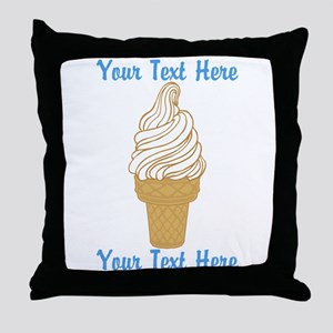 Personalized Ice Cream Cone Throw Pillow