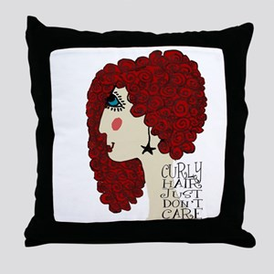 Curly Hair Just Don't Care Throw Pillow