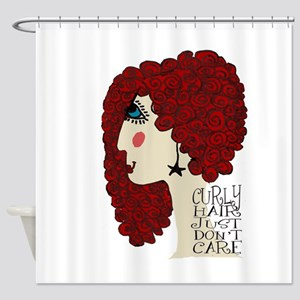 Curly Hair Just Don't Care Shower Curtain