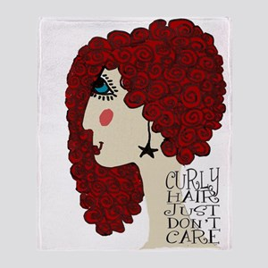 Curly Hair Just Don't Care Throw Blanket