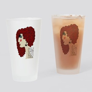 Curly Hair Just Don't Care Drinking Glass