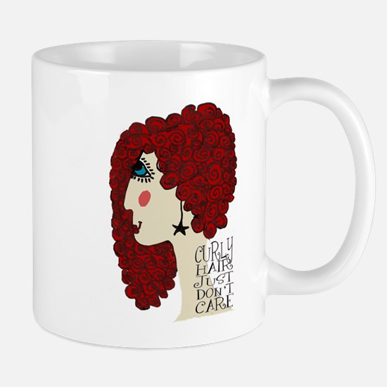 Curly Hair Just Don't Care Mugs