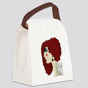 Curly Hair Just Don't Care Canvas Lunch Bag