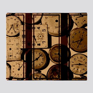 triptych vintage watch faces Throw Blanket