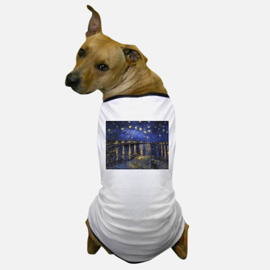 Van Gogh Starry Night Over The Rhone Dog T-Shirt