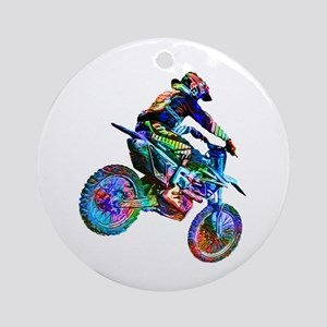 Super Crayon Colored Dirt Bike Care Round Ornament