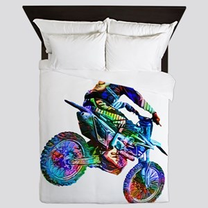 Super Crayon Colored Dirt Bike Careeni Queen Duvet